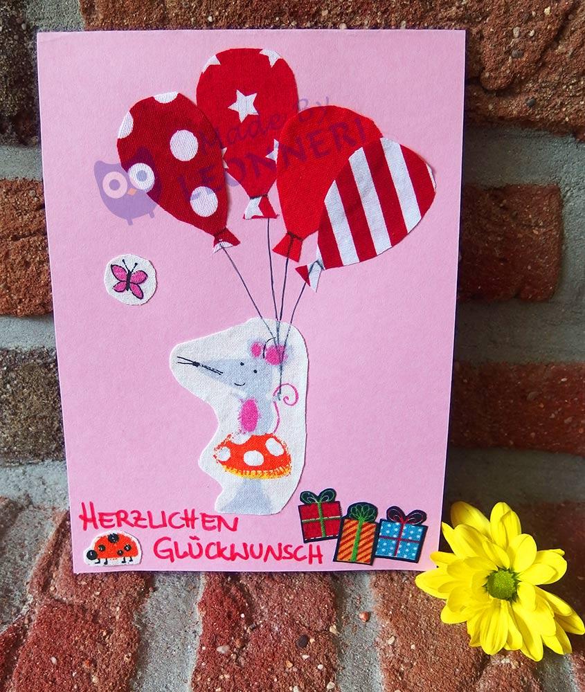 individuelle Geburtstagskarte aus Stoffresten