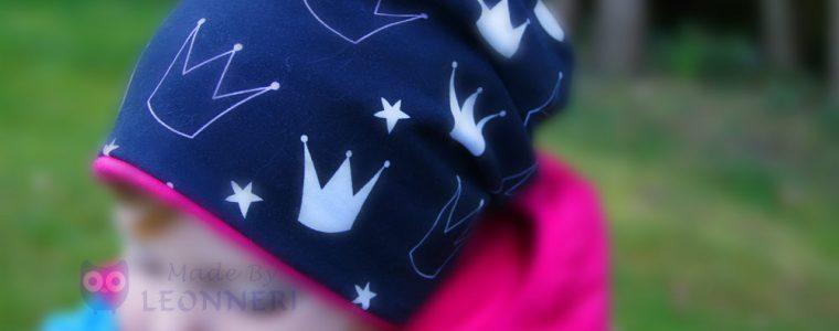Beanie schwarz_pink mit Kronen3