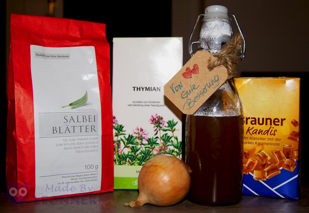 Zwiebel und Kandiszucker gibts im Supermarkt und getrockneten Salbei und Thymian bekommt ihr in der Apotheke oder aus den eigenen Kräutergarten