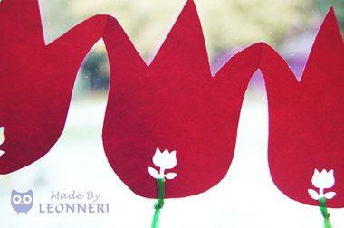 Wunderschöne Tulpen-Girlande fürs Fenster
